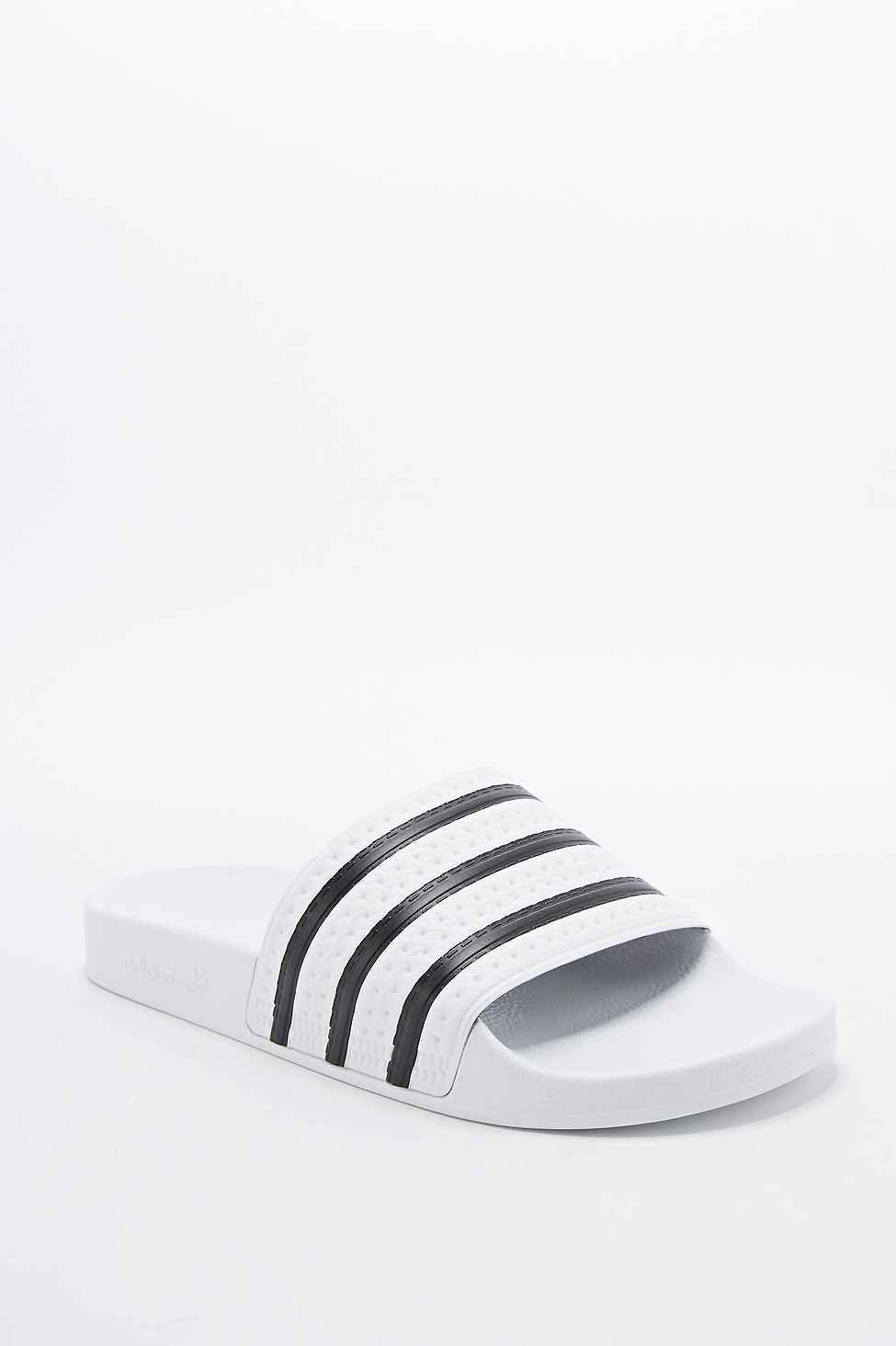 503627fab adidas Adilette Stripe Pool Sliders In White And Black in White for ...