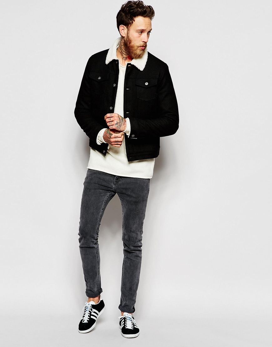 8dbd6547f11 Lyst - ASOS Wool Bomber Jacket With Faux Shearling Collar in Black ...