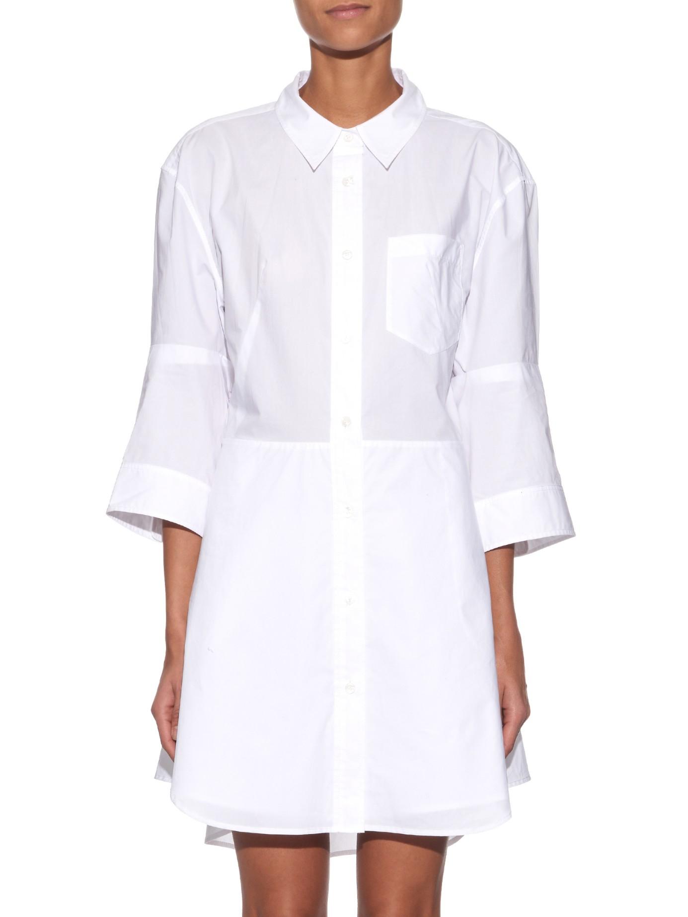 Acne Dee Tech Pop Cotton Shirt Dress in White | Lyst