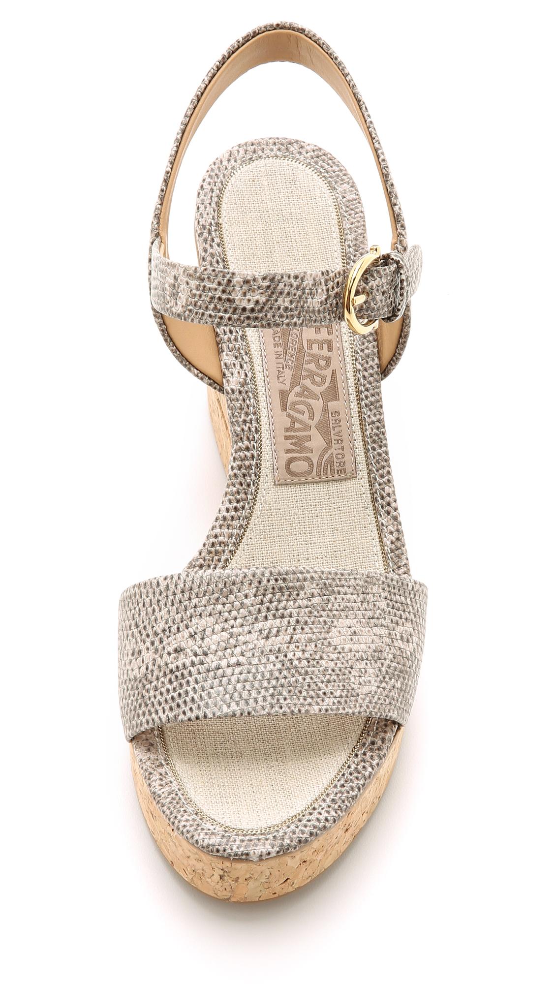 66ef6592876 Lyst - Ferragamo Madea Wedge Sandals - Roccia in Gray