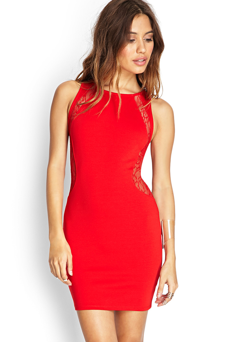 de1e758836 Lyst - Forever 21 Lace Paneled Bodycon Dress in Red
