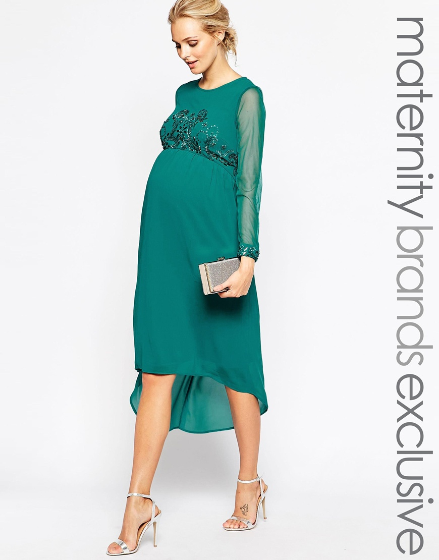Maya maternity midi dress with embellished bodice and cuff in gallery ombrellifo Image collections