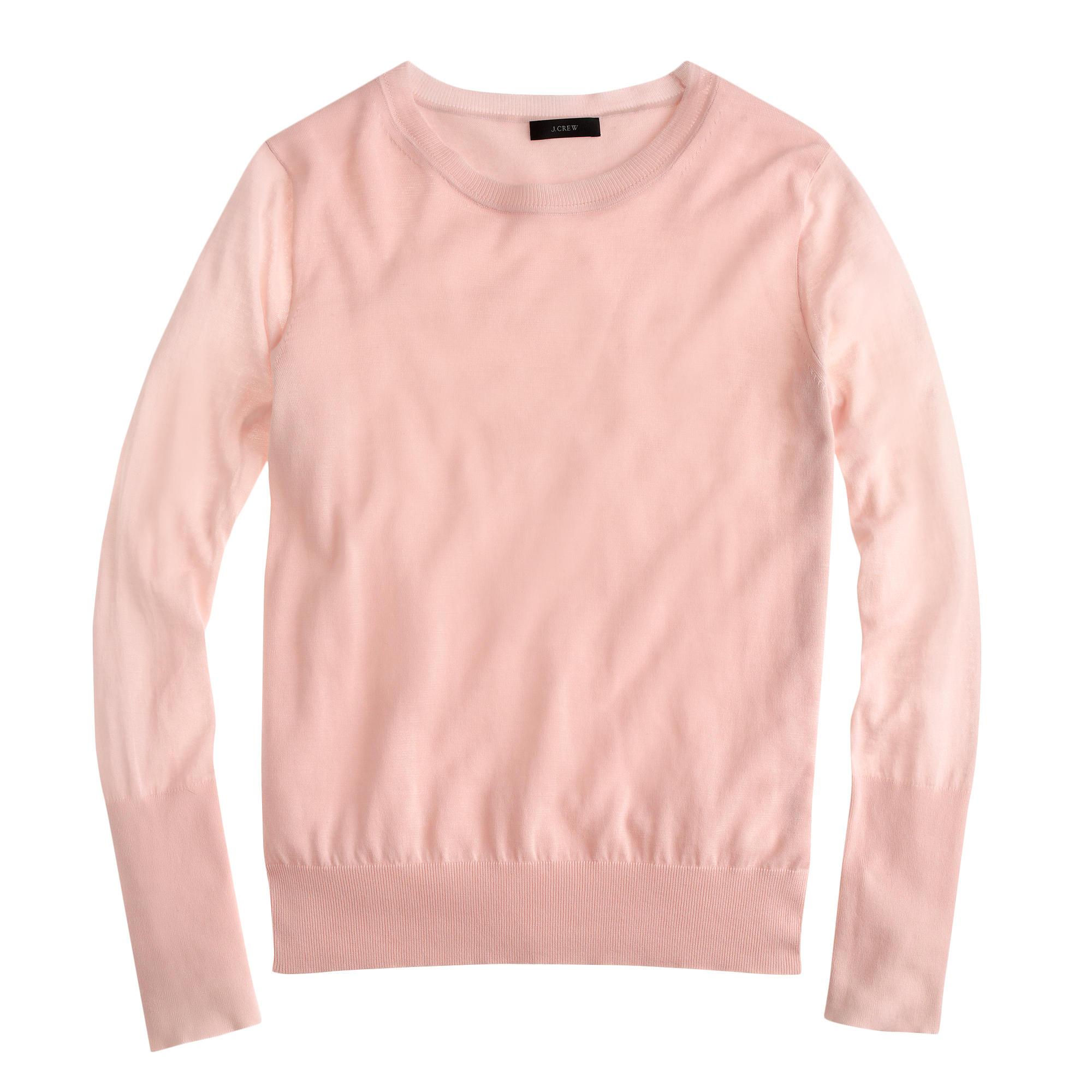 J.crew Summerweight Cotton Sweater in Pink | Lyst