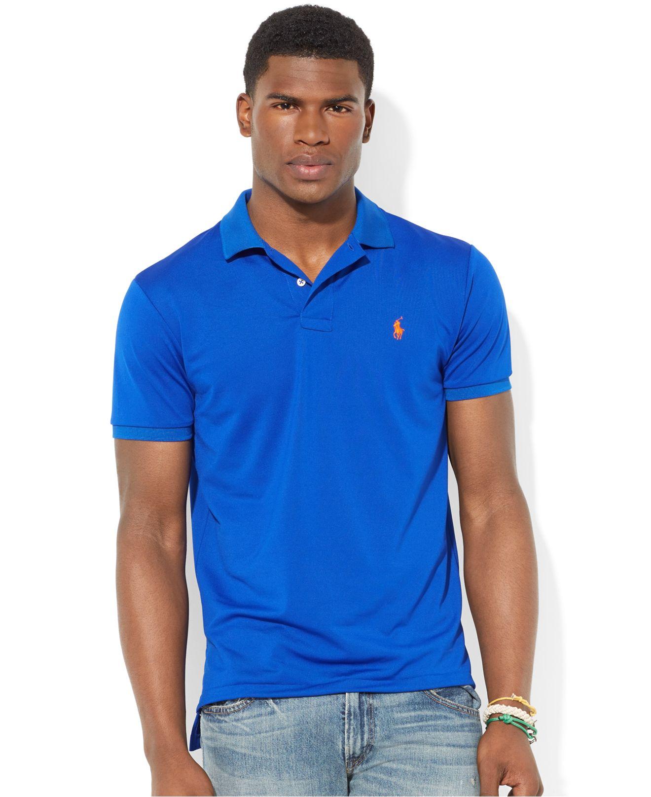 Lyst Polo Ralph Lauren Performance Mesh Polo In Blue For Men