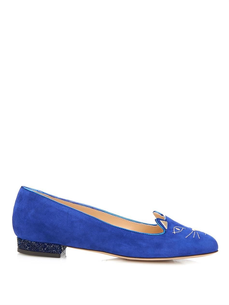 charlotte olympia kitty crystal embellished suede flats in blue lyst. Black Bedroom Furniture Sets. Home Design Ideas