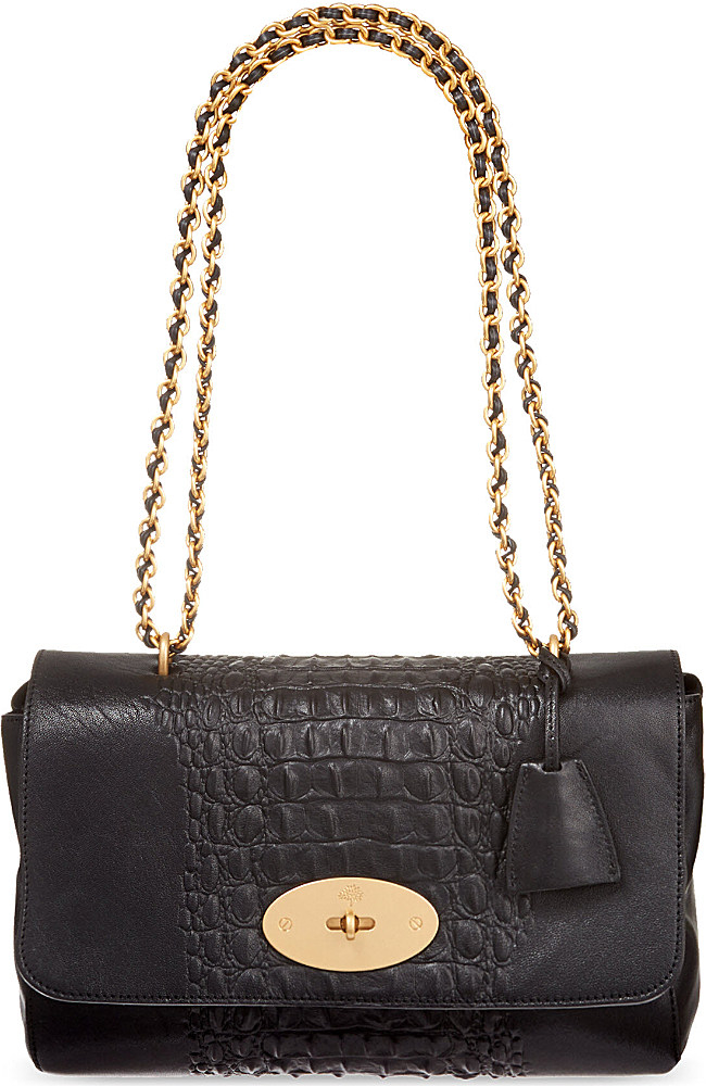 89a14e376453 ... love that bag preowned authentic designer handbags fabf9 97b65 sweden  mulberry medium lily crocodile stripe shoulder bag in black lyst e70a4  535af ...
