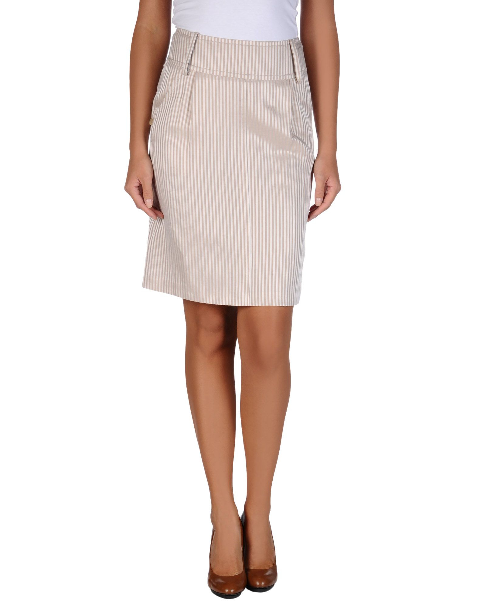 tonello knee length skirt in beige save 50 lyst