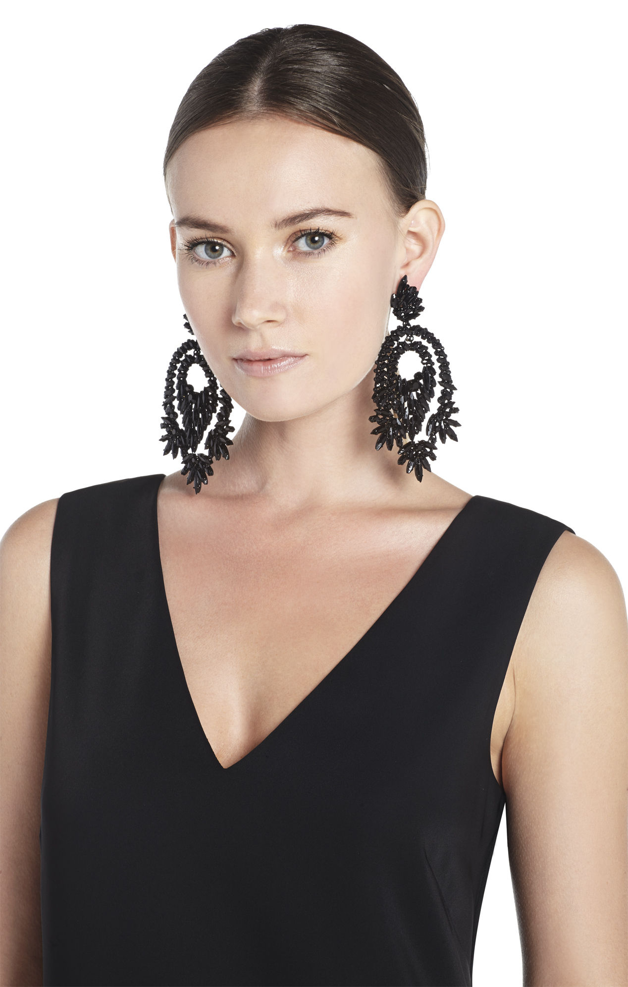 Bcbgmaxazria Oversized Rhinestone Cocktail Earrings in Black – Oversized Chandelier Earrings