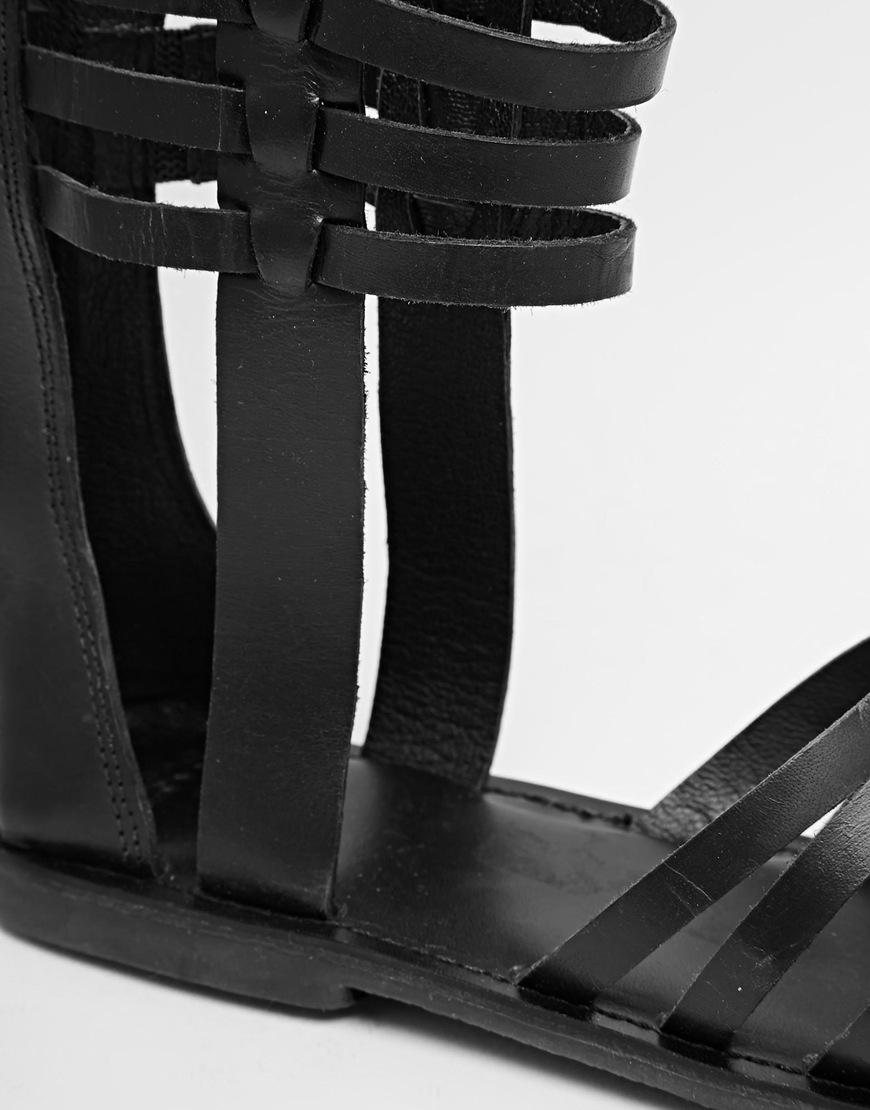 d9ca3b8819949c Lyst - ASOS Fentiman Leather Knee High Gladiator Sandals in Black