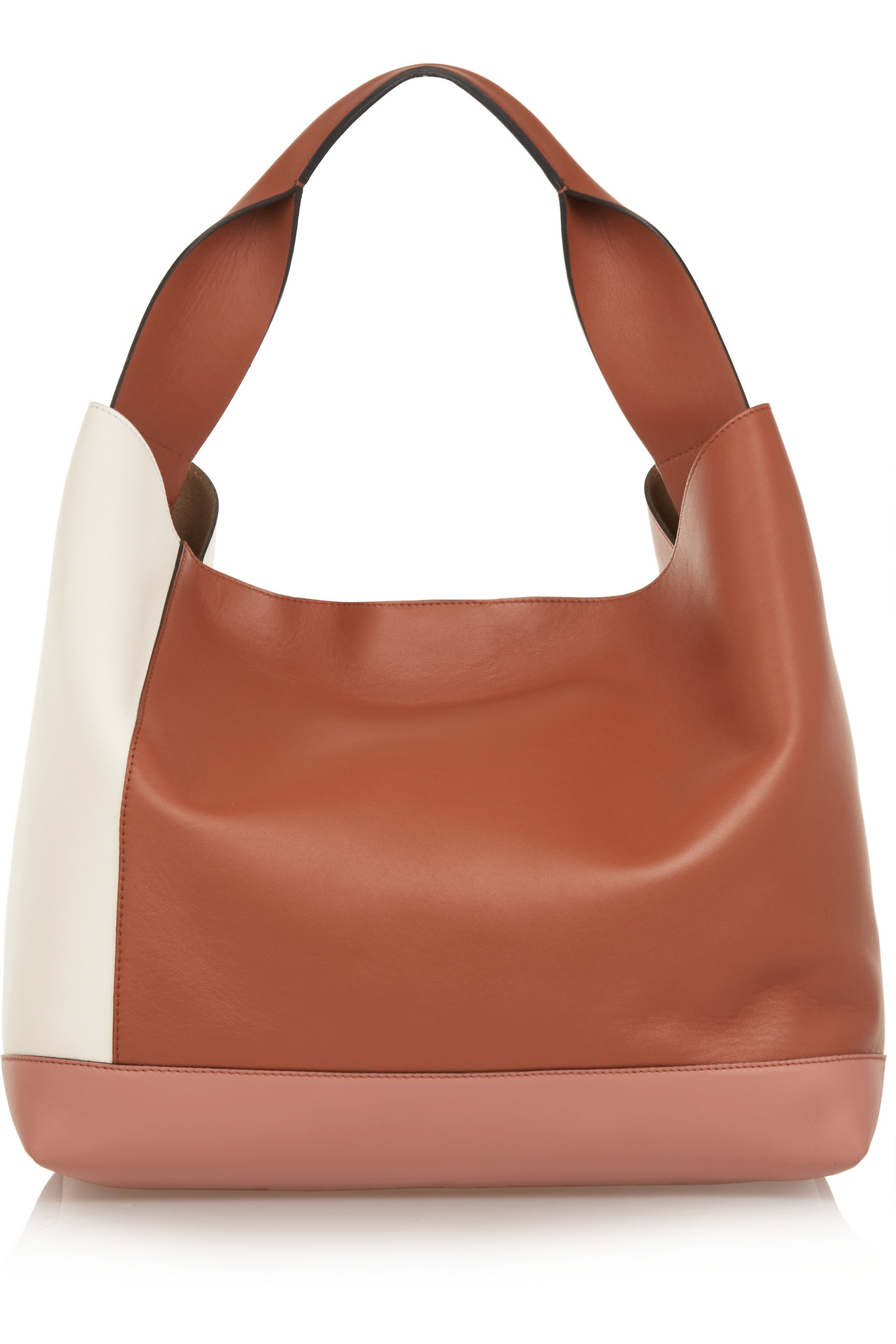 colour blocked tote bag - Brown Marni