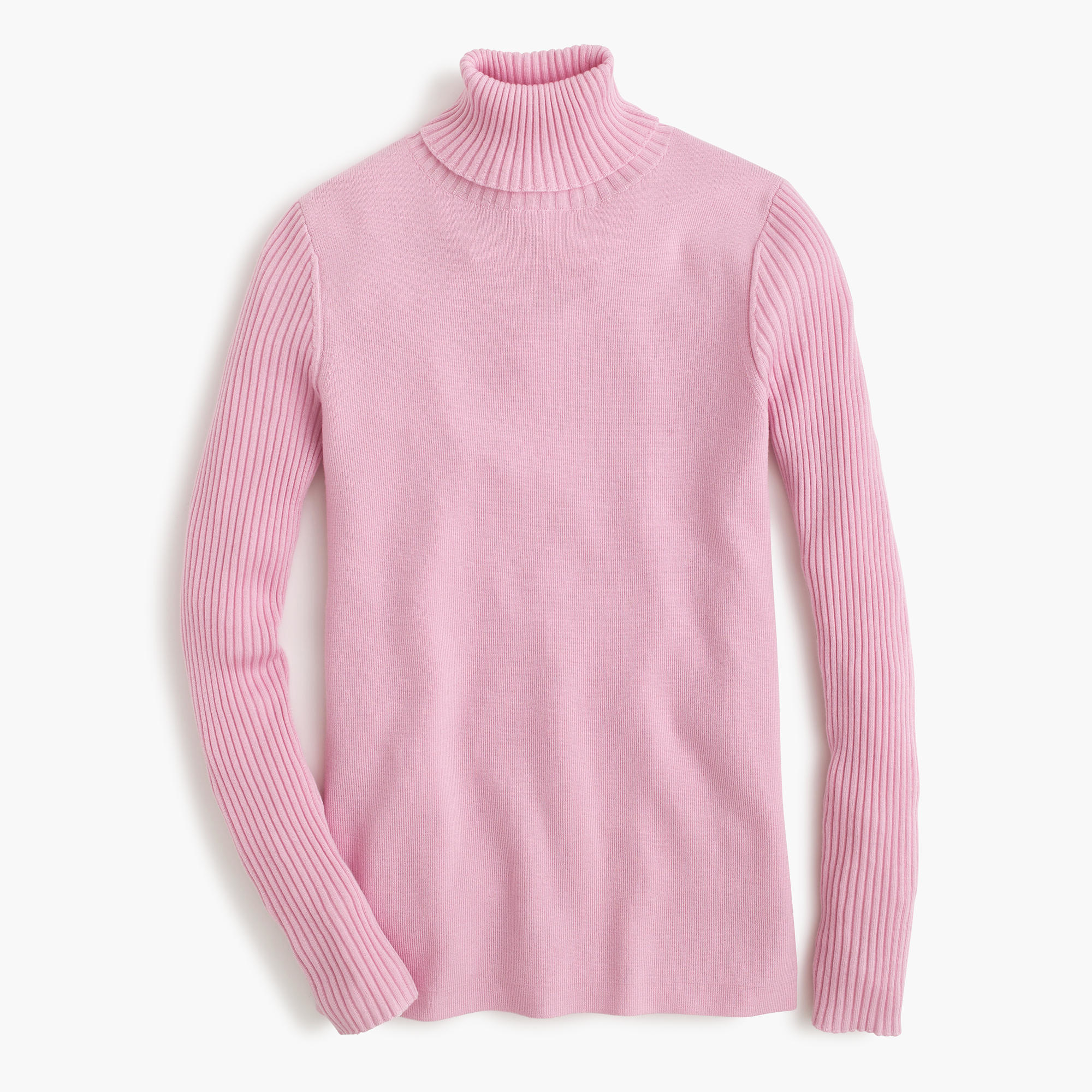 J.crew Merino Turtleneck Sweater With Ribbed Sleeves in Pink | Lyst