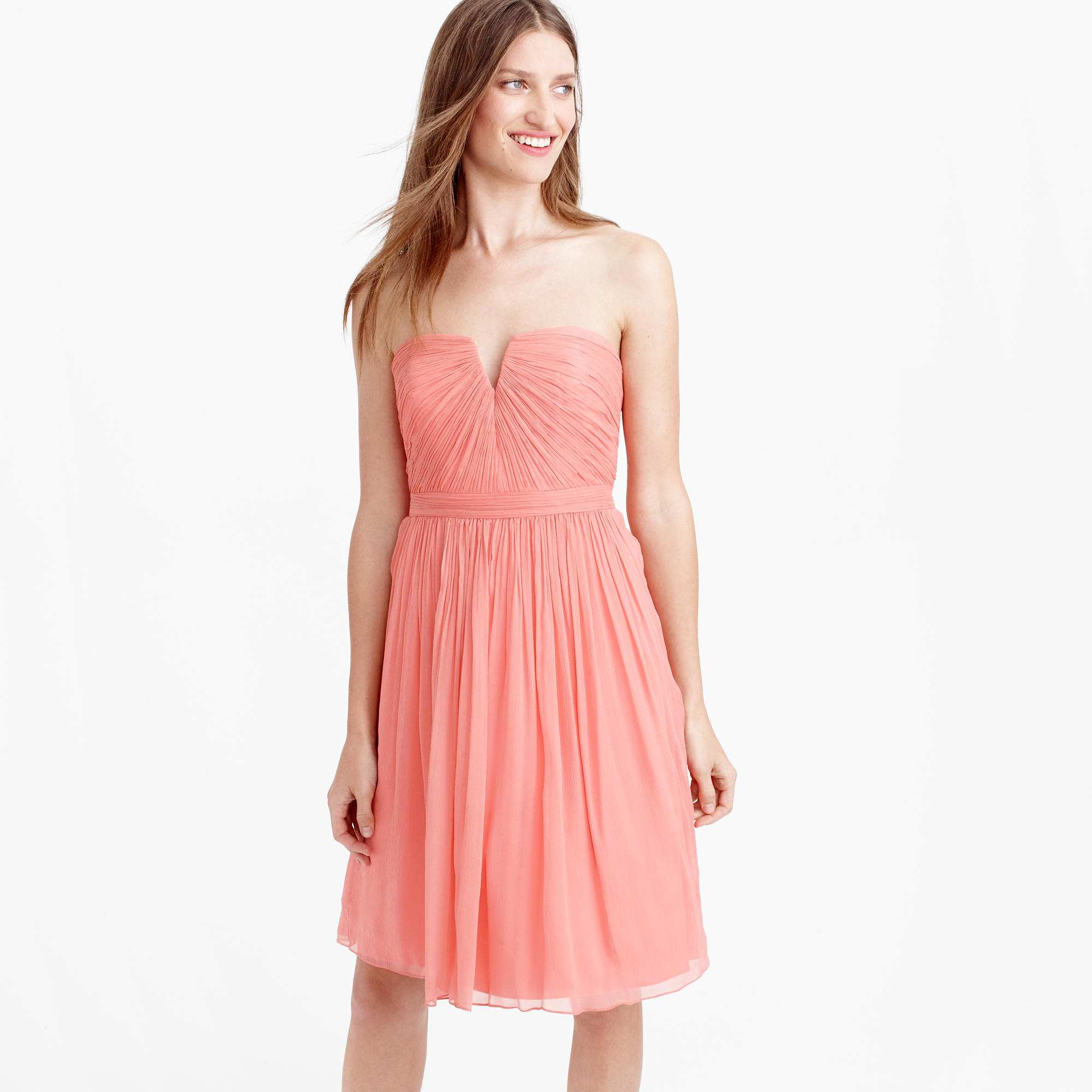 Nadia dress in silk chiffon in orange lyst for J crew beach wedding dress
