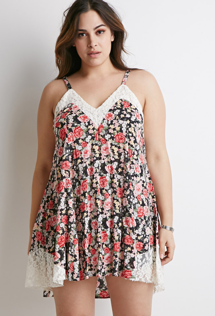 Forever 21 Plus Size Lace-trimmed Floral Cami Dress - Lyst