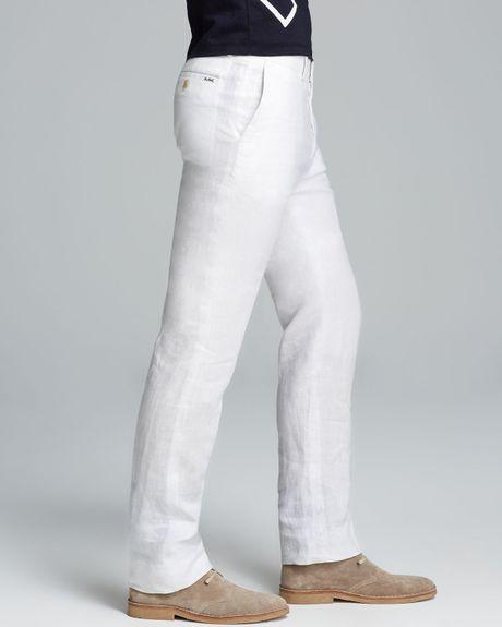 Michael Kors Linen Modern Fit Pants In White For Men Lyst