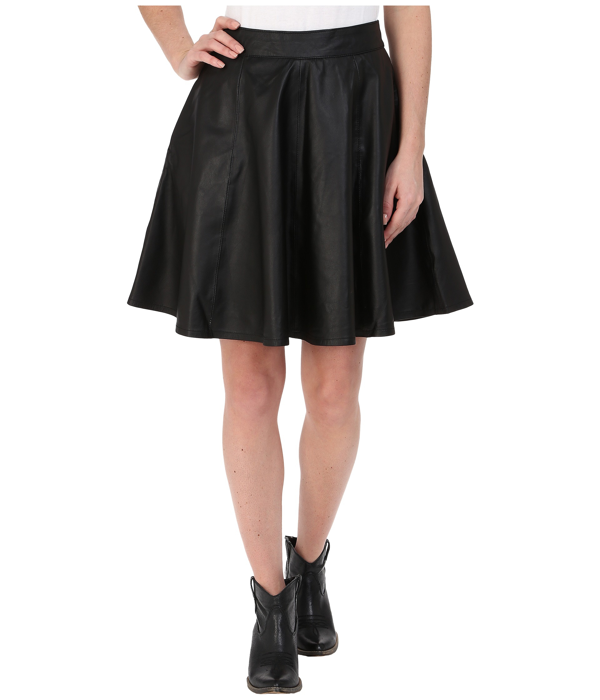 stetson black leather circle skirt in black lyst