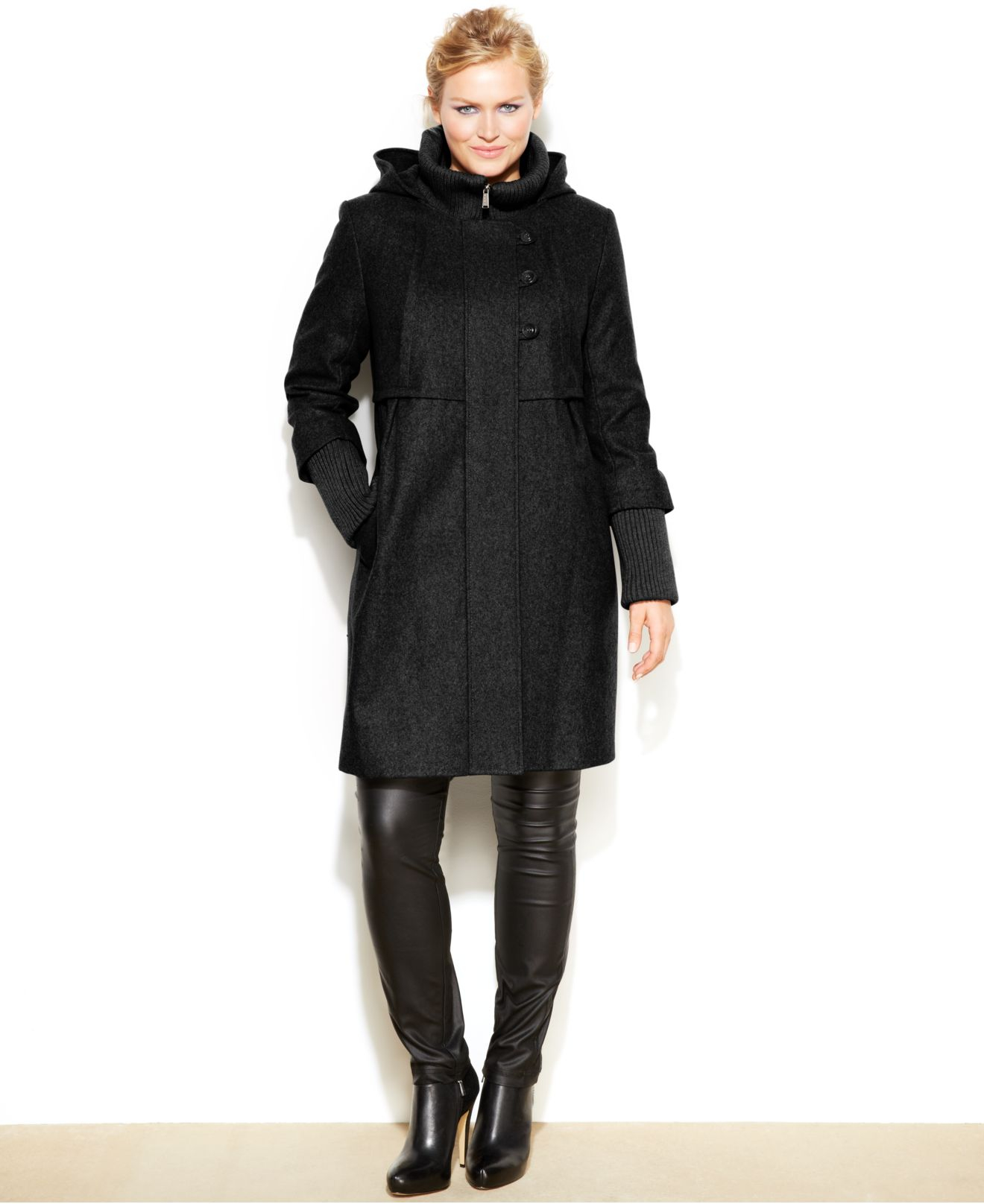 Dkny Plus Size Hooded Wool-Blend Babydoll Coat in Black | Lyst