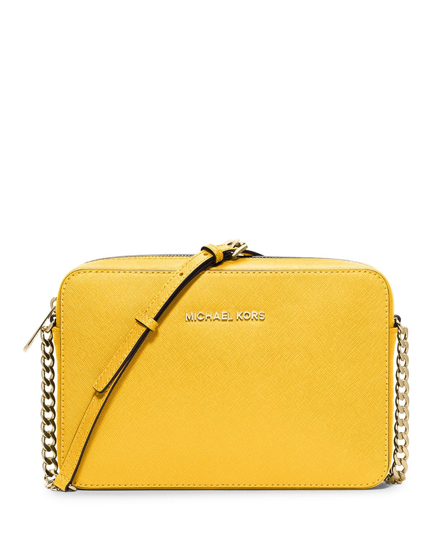 c13361a85f Lyst - MICHAEL Michael Kors Jet Set Travel Large Crossbody Bag in Yellow