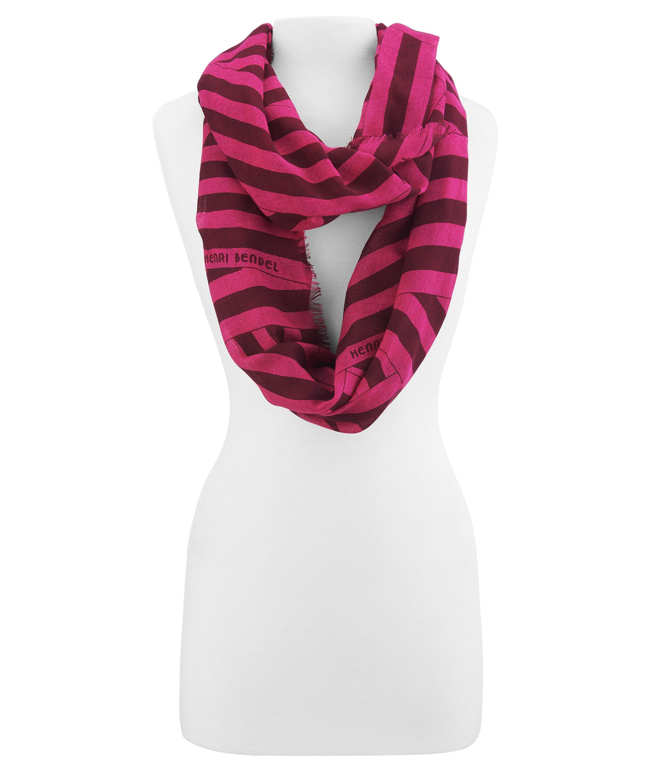 henri bendel disturbed stripe infinity scarf in pink lyst
