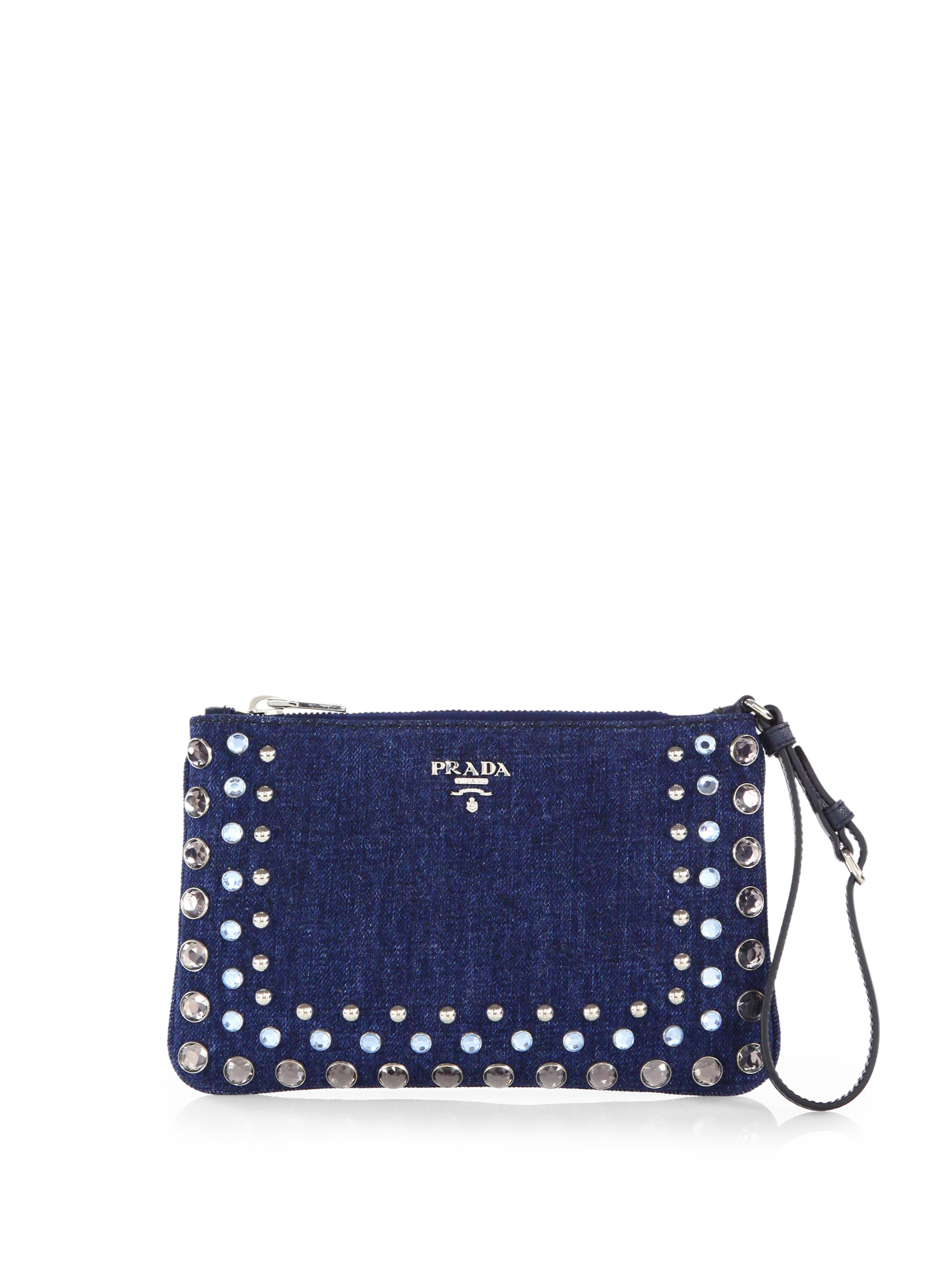 Prada Studded Denim Clutch in Blue (AVIO-BLUE) | Lyst
