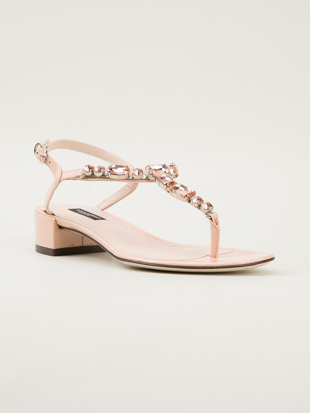 Lyst Dolce Amp Gabbana Jewel Embellished Sandal In Pink