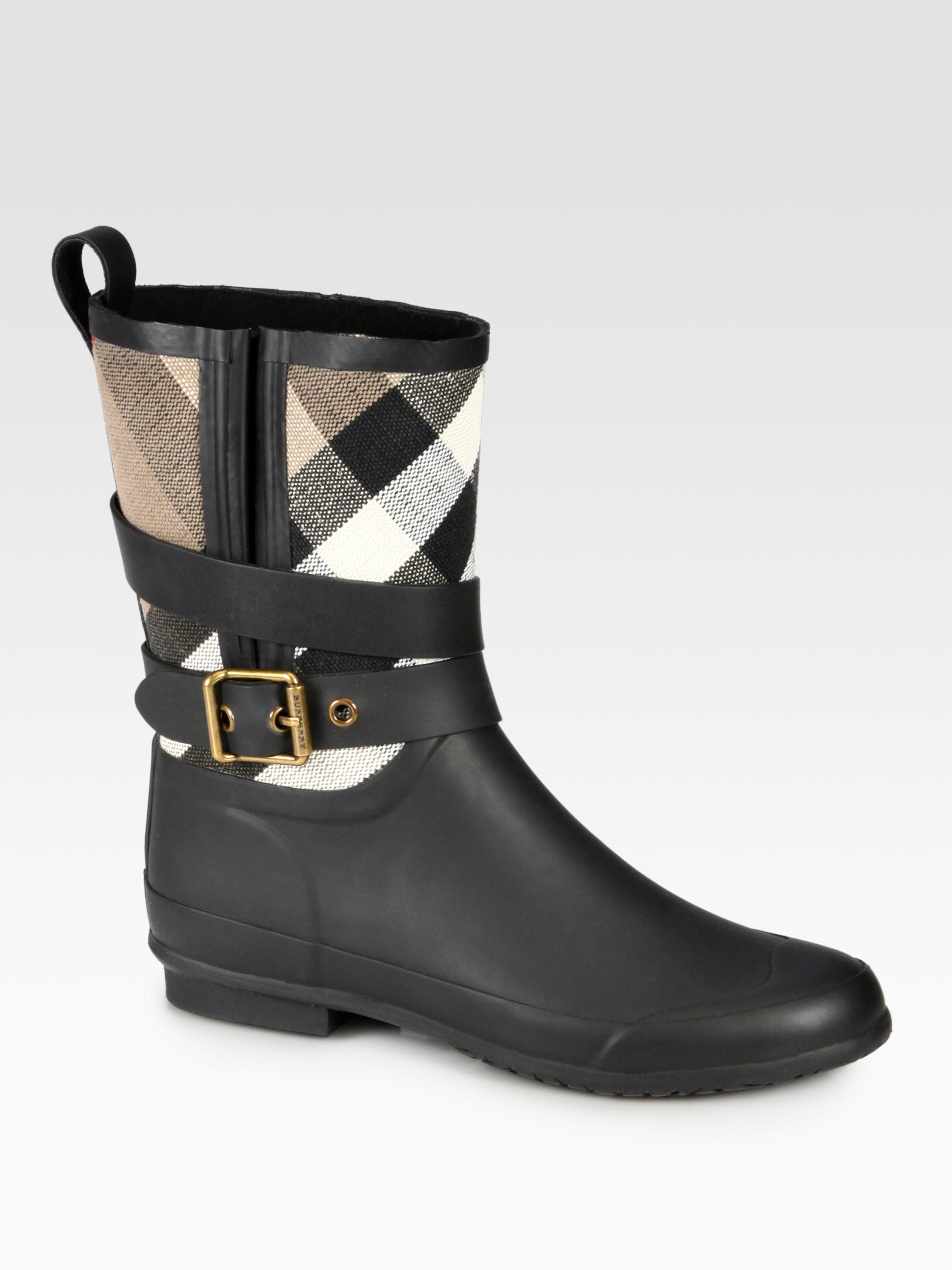 Lyst Burberry Holloway Canvas Rain Boots In Black