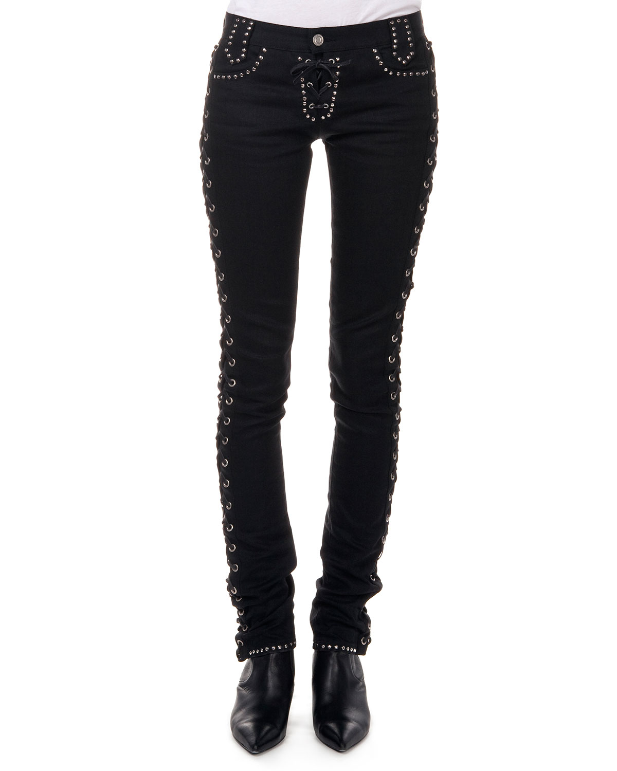 lyst saint laurent studded jeans w corset sides in black. Black Bedroom Furniture Sets. Home Design Ideas