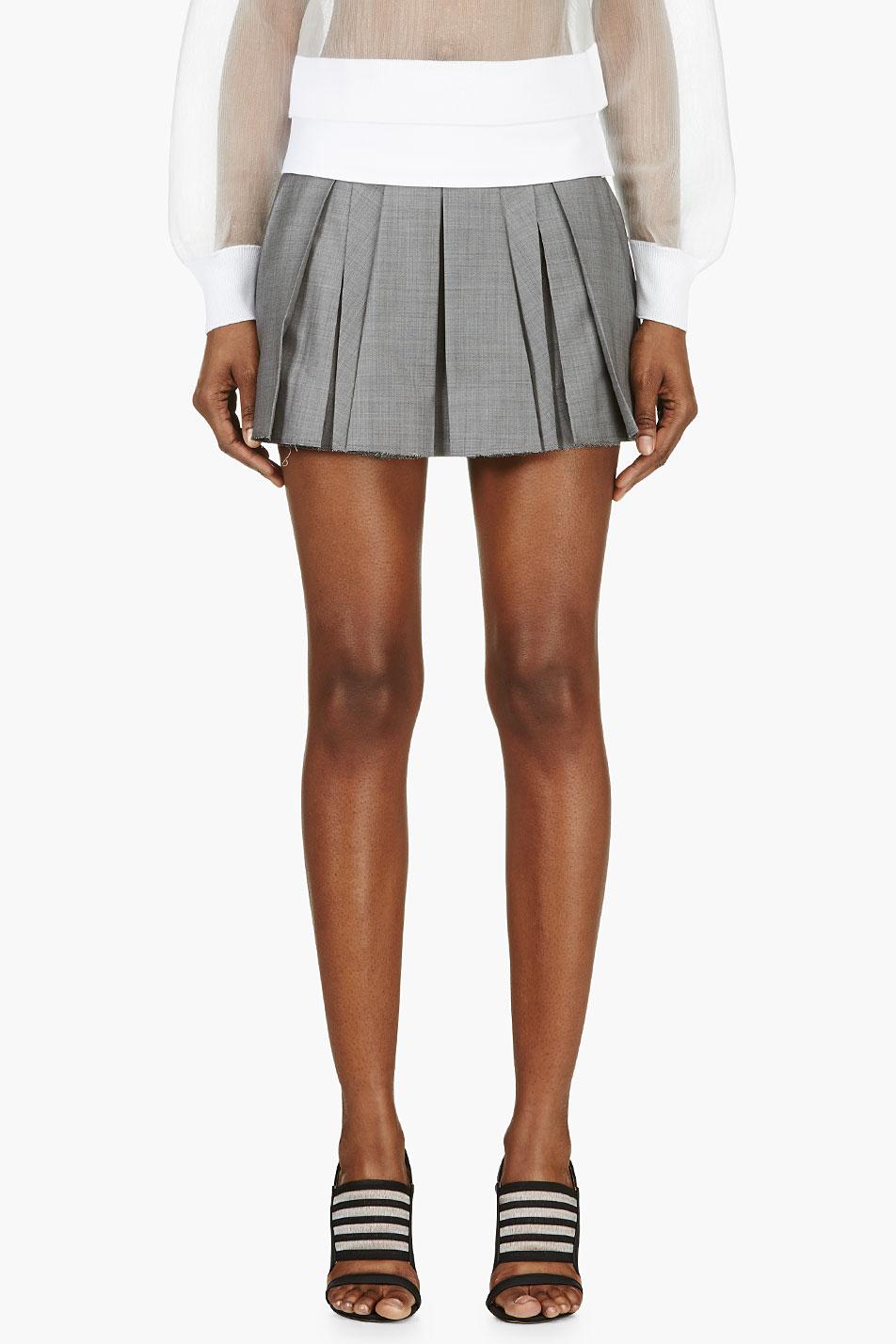 wang grey wool crosshatch pleated mini skirt in