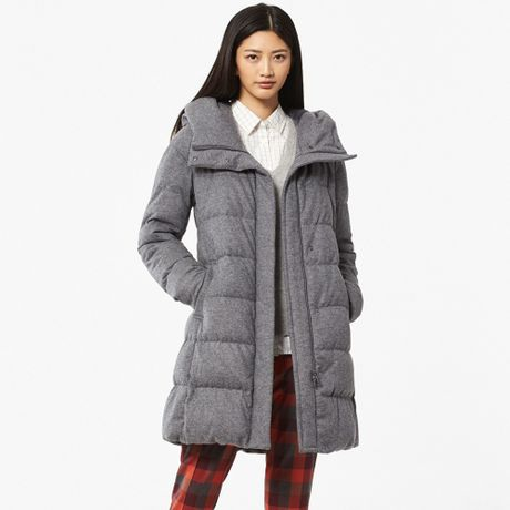 uniqlo women stretch wool blended down coat in gray lyst. Black Bedroom Furniture Sets. Home Design Ideas