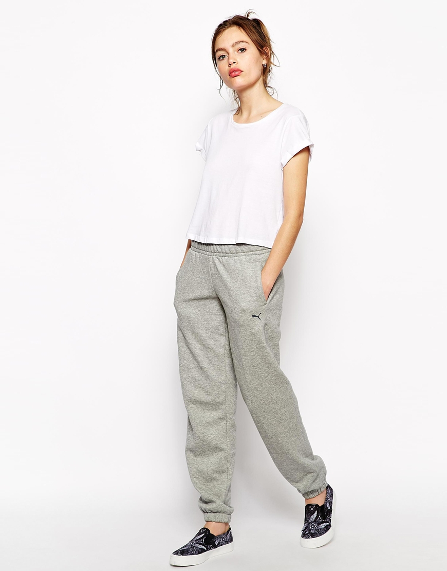 puma baggy sweatpants in gray lyst
