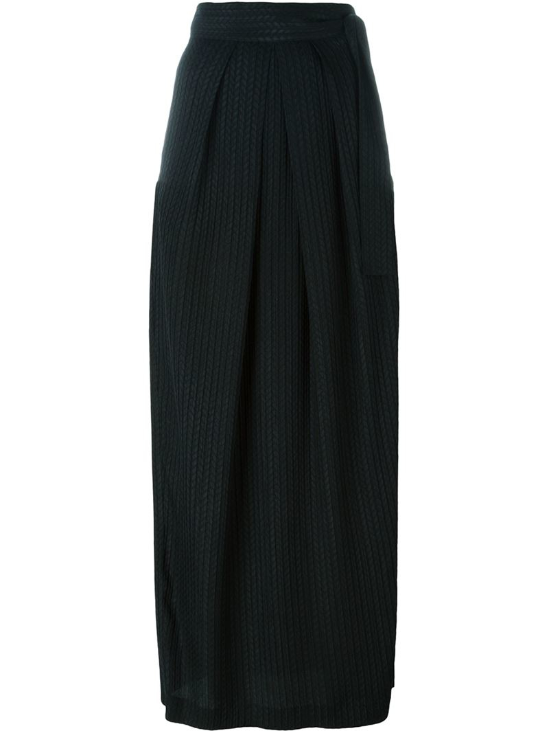 etro pleated chevron skirt in black lyst