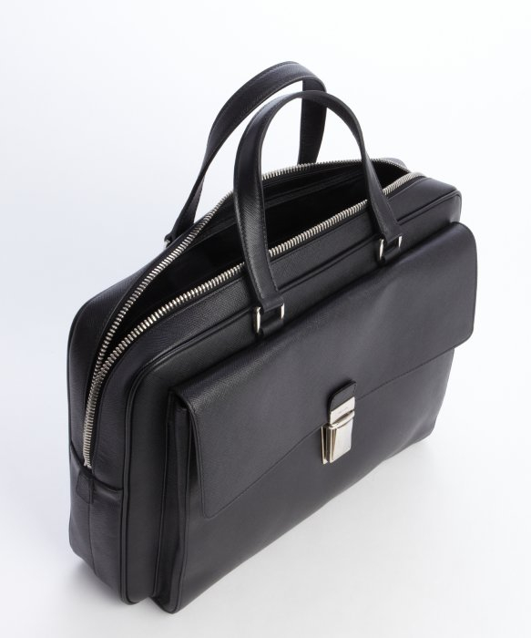 Prada Black Saffiano Leather Front Pocket Briefcase in Black for ... - Prada briefcase black