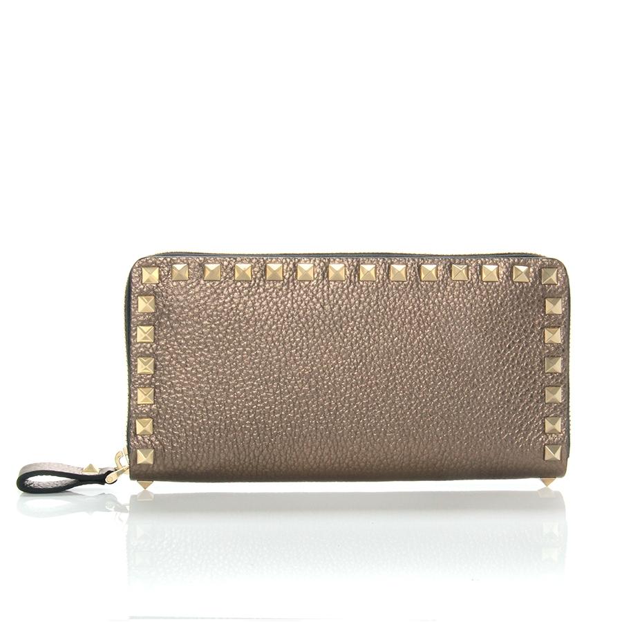 Valentino Rockstud Metallic Zip Around Wallet in Metallic | Lyst