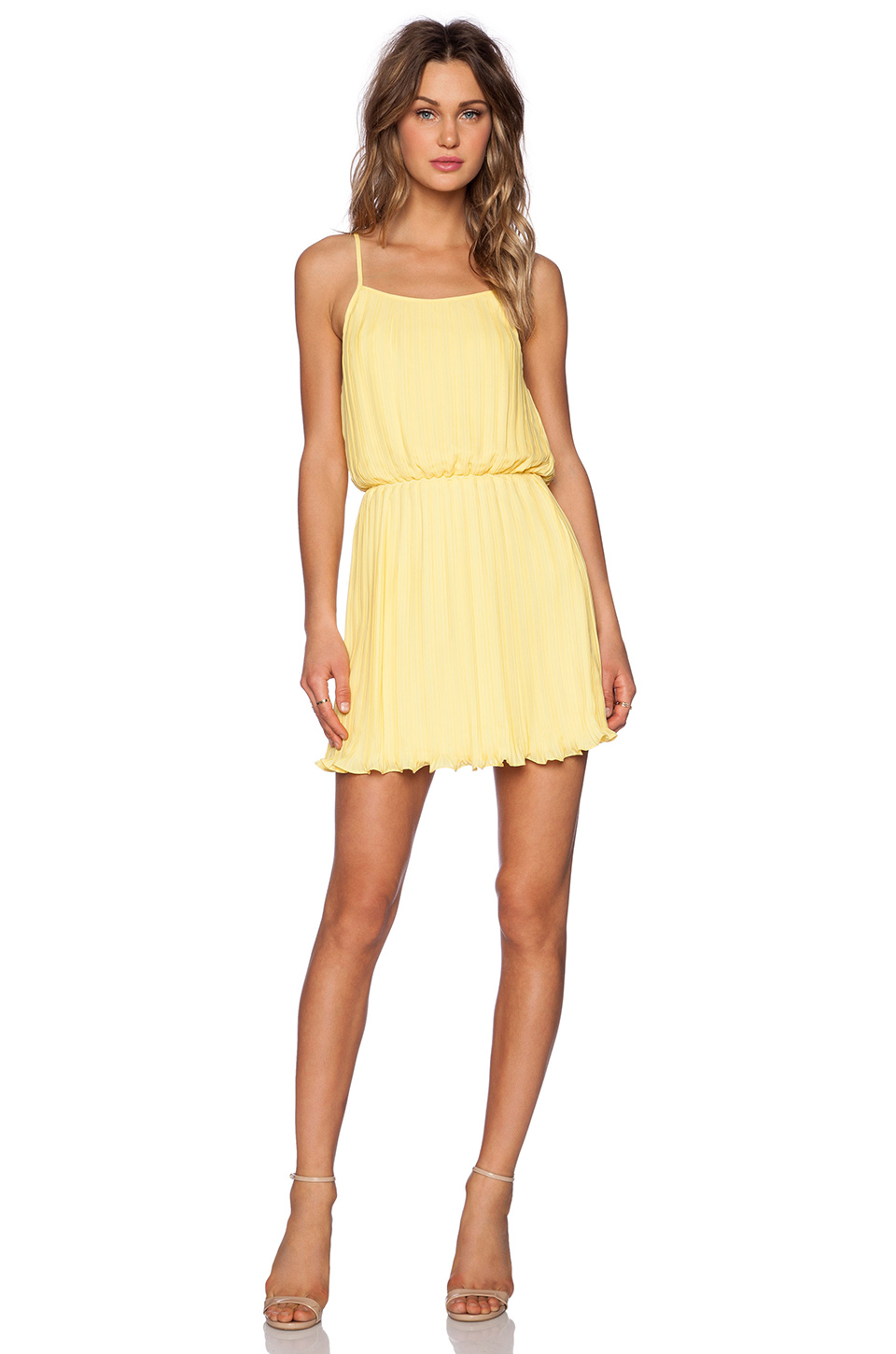Lyst - Blaque Label Pleated Tank Dress In Yellow
