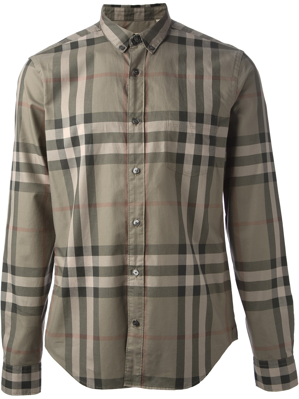 Burberry brit 39 nova check 39 shirt in green for men lyst for Burberry brit checked shirt