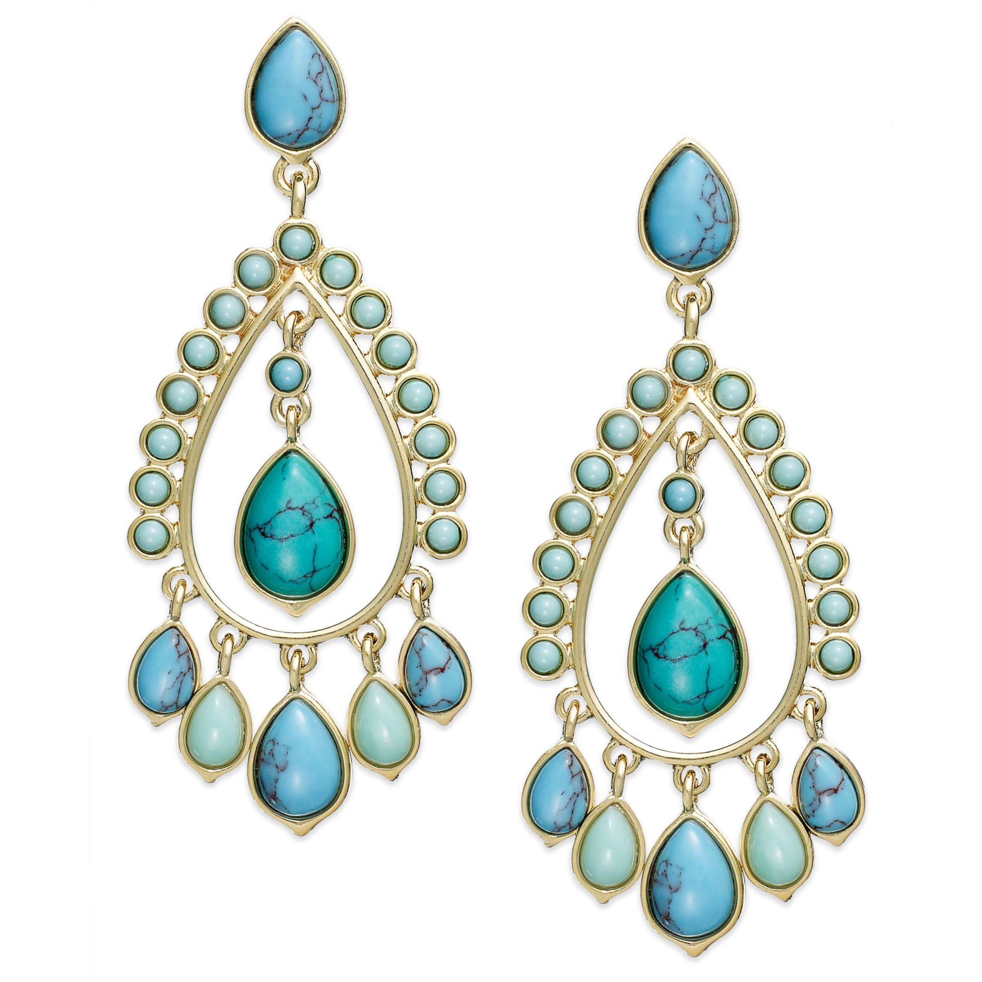 Lauren by ralph lauren 14k Goldtone Reconstituted Turquoise – Gold Tone Chandelier Earrings