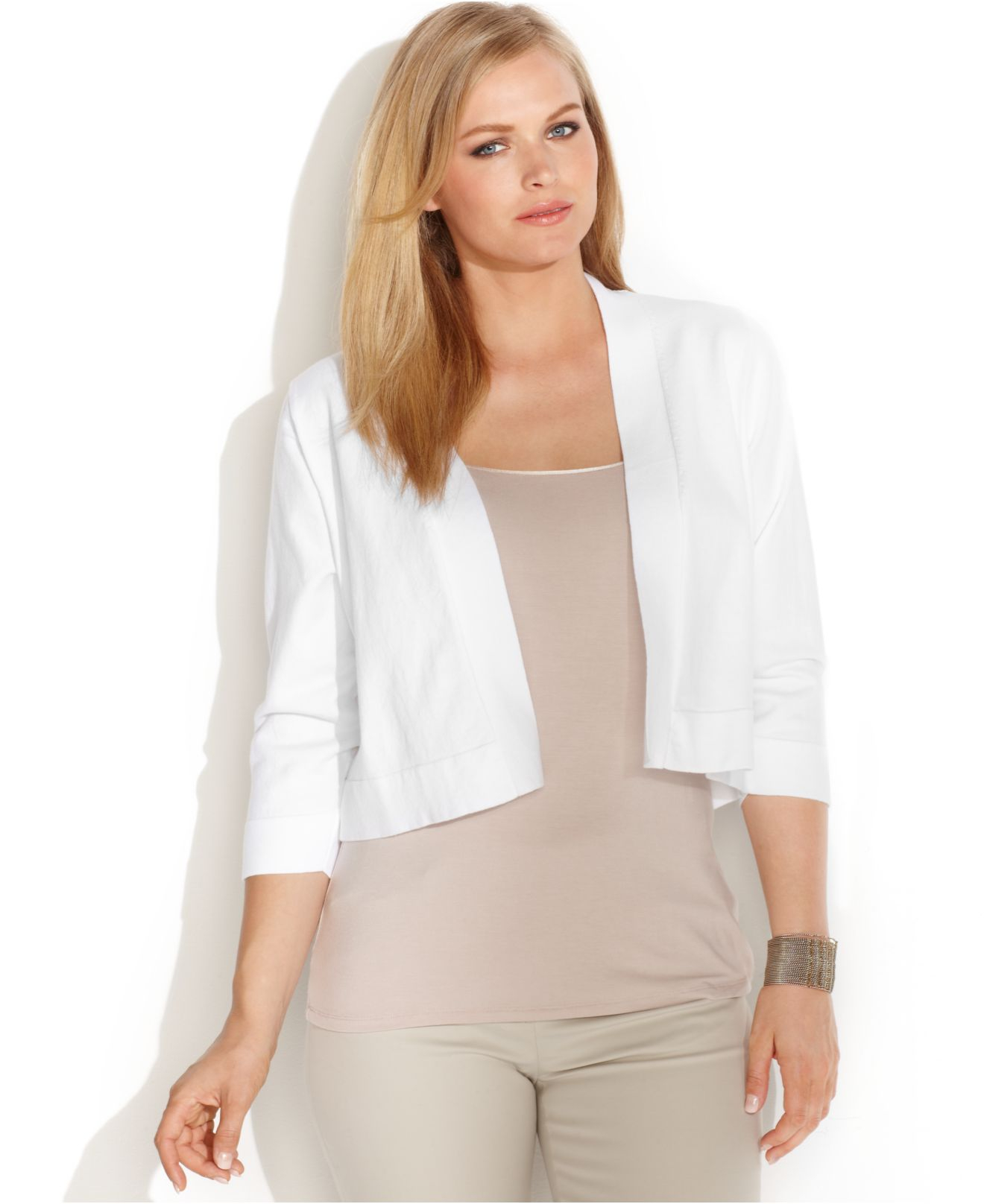 Calvin klein Plus Size Lace-back Cropped Cardigan in White | Lyst