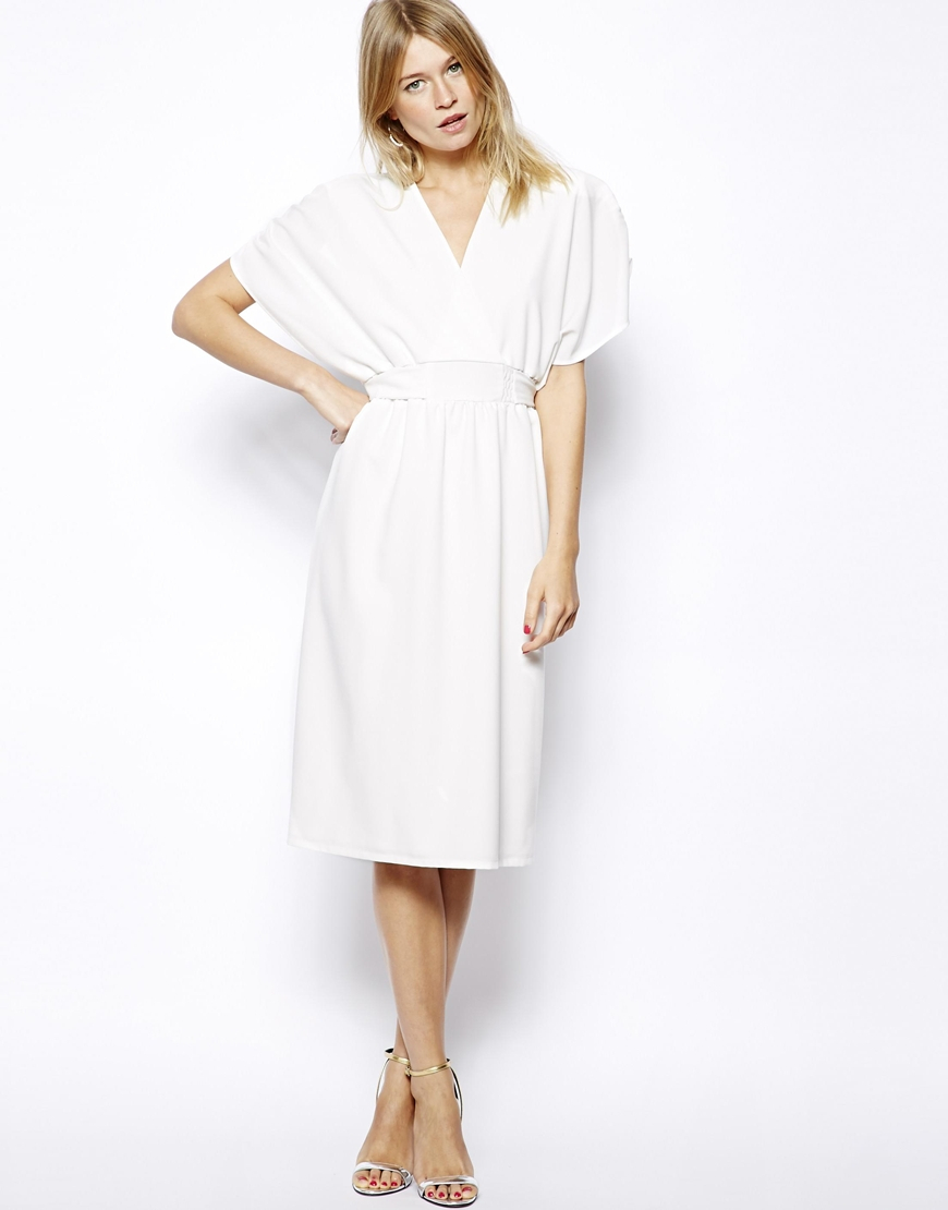 Love Kimono Midi Dress with Tie Waist in White | Lyst
