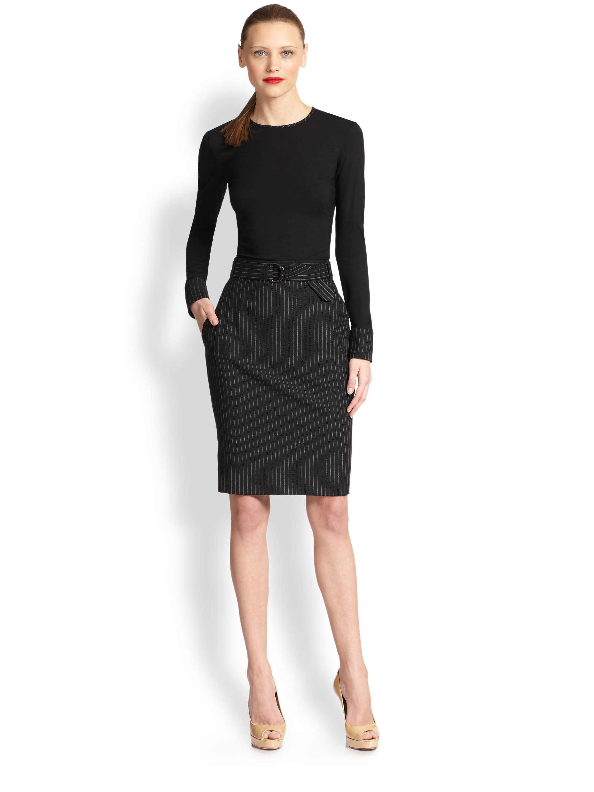 Akris punto Pinstripe Belted Wool Pencil Skirt in Black | Lyst