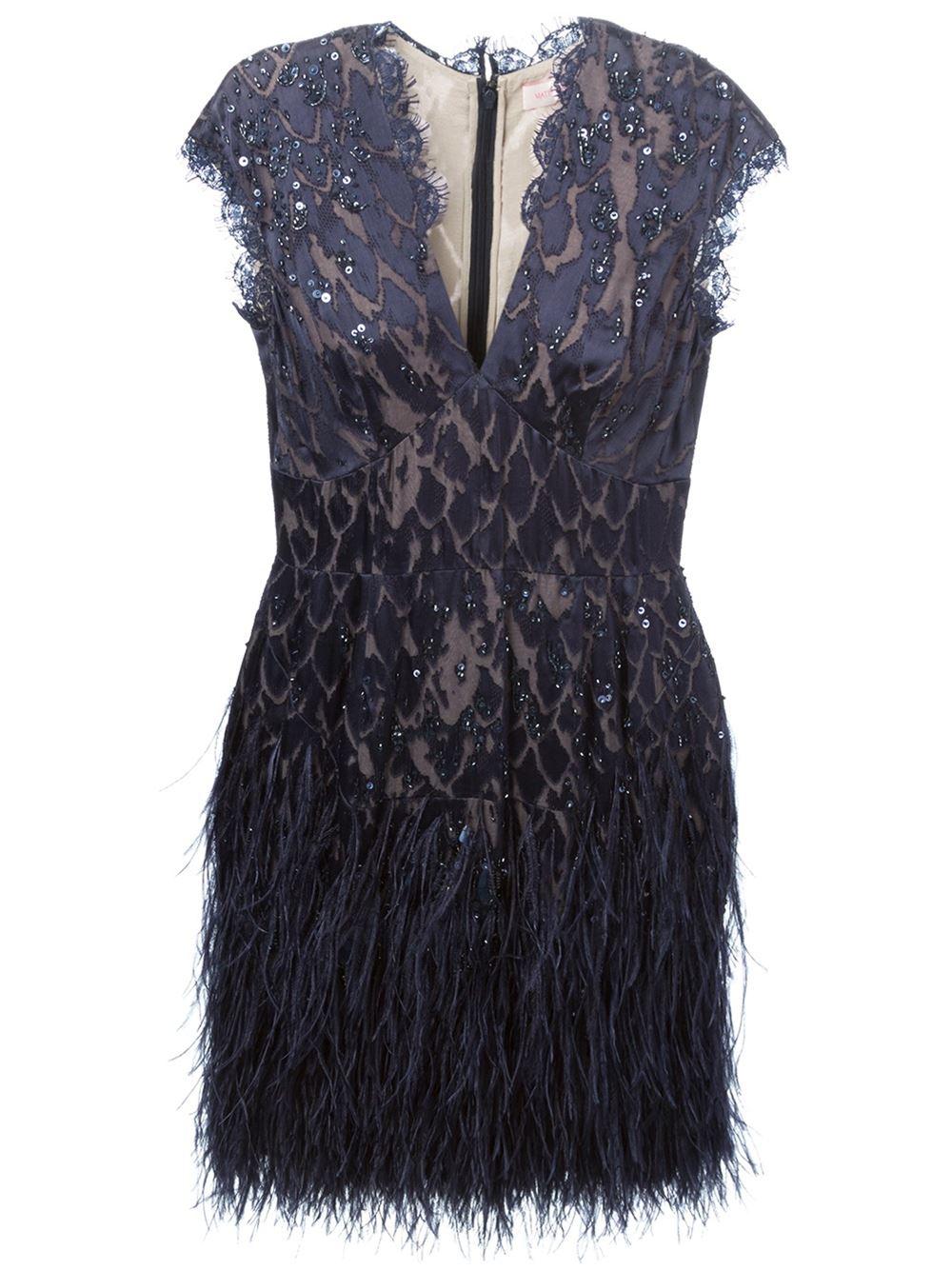 Matthew Williamson Ostrich Feather Trim Embellished Dress