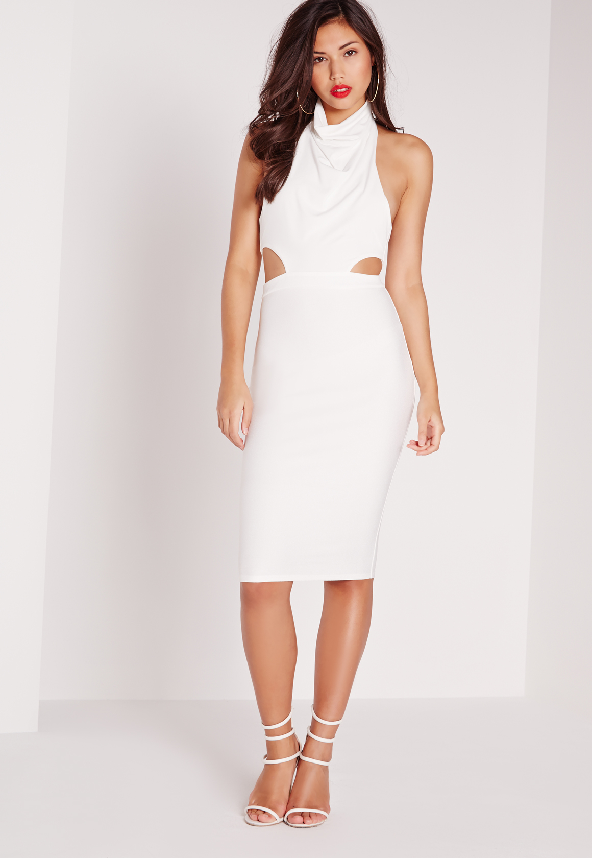Missguided Cowl Neck Cut Out Midi Dress White in White | Lyst