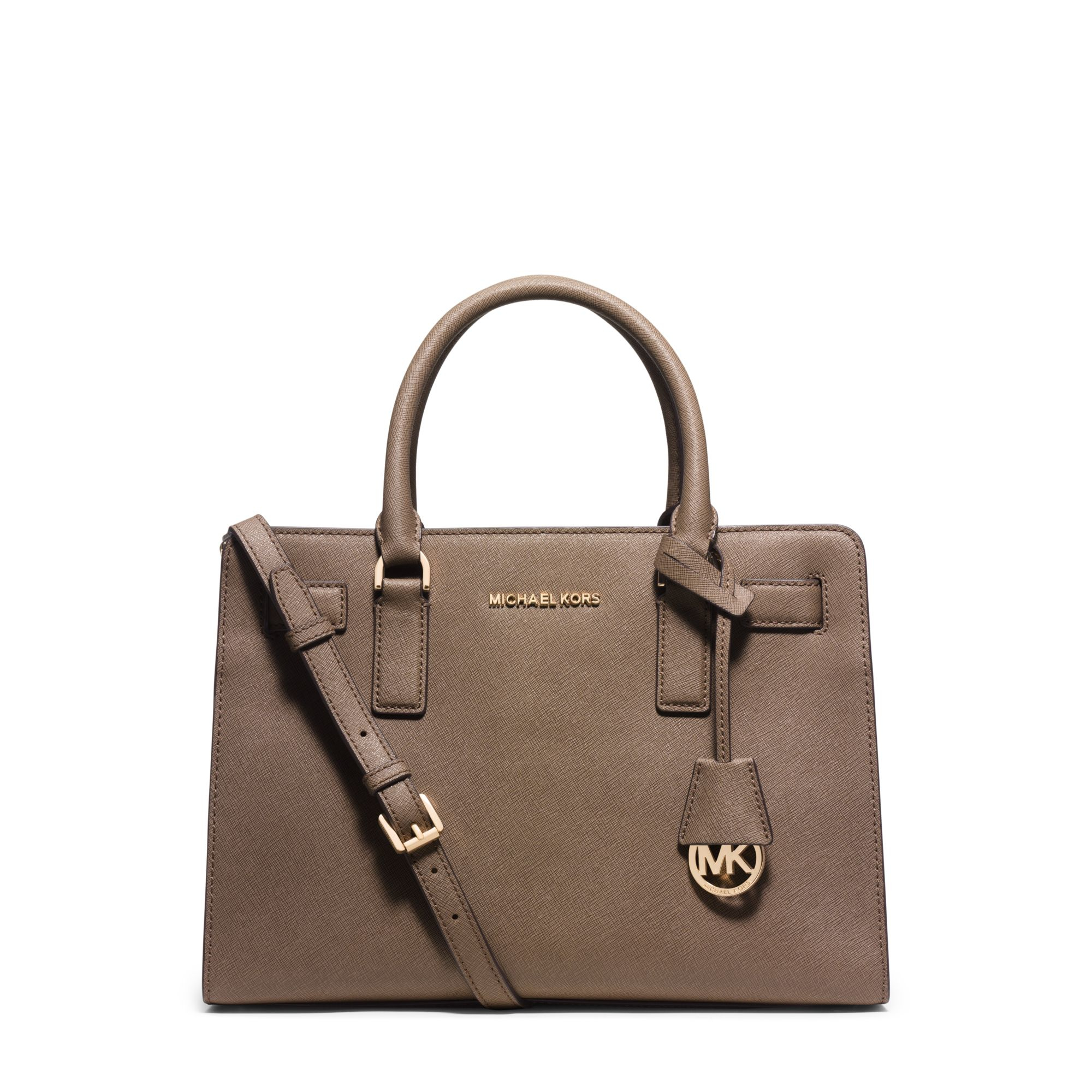 7b22cf514f71 Lyst - Michael Kors Dillon Saffiano Leather Satchel in Brown