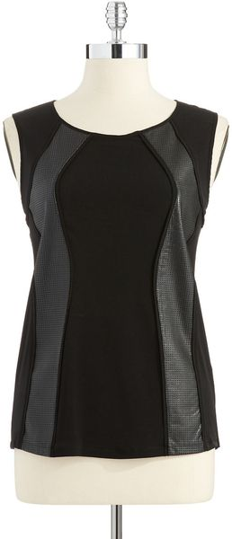 Calvin Klein Sleeveless Top with Faux Leather Accents in Black - Lyst