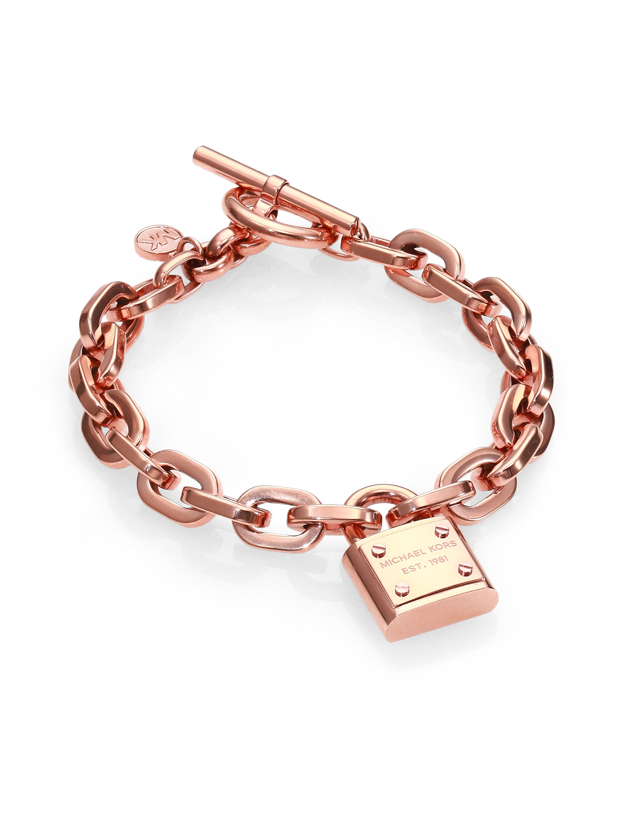 lyst michael kors motif padlock toggle bracelet in metallic. Black Bedroom Furniture Sets. Home Design Ideas