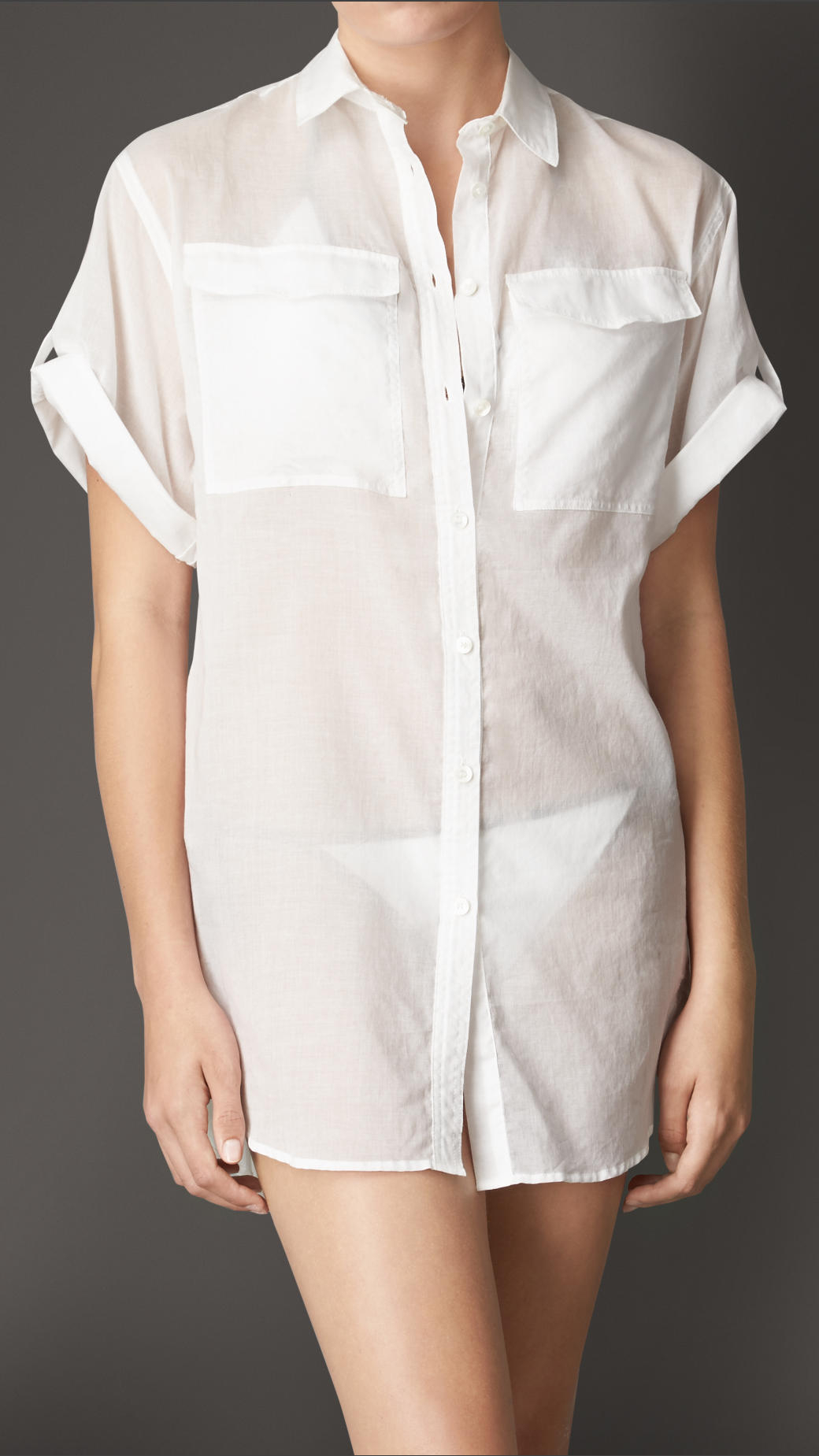 Lyst Burberry Cotton Voile Shirt Dress In White