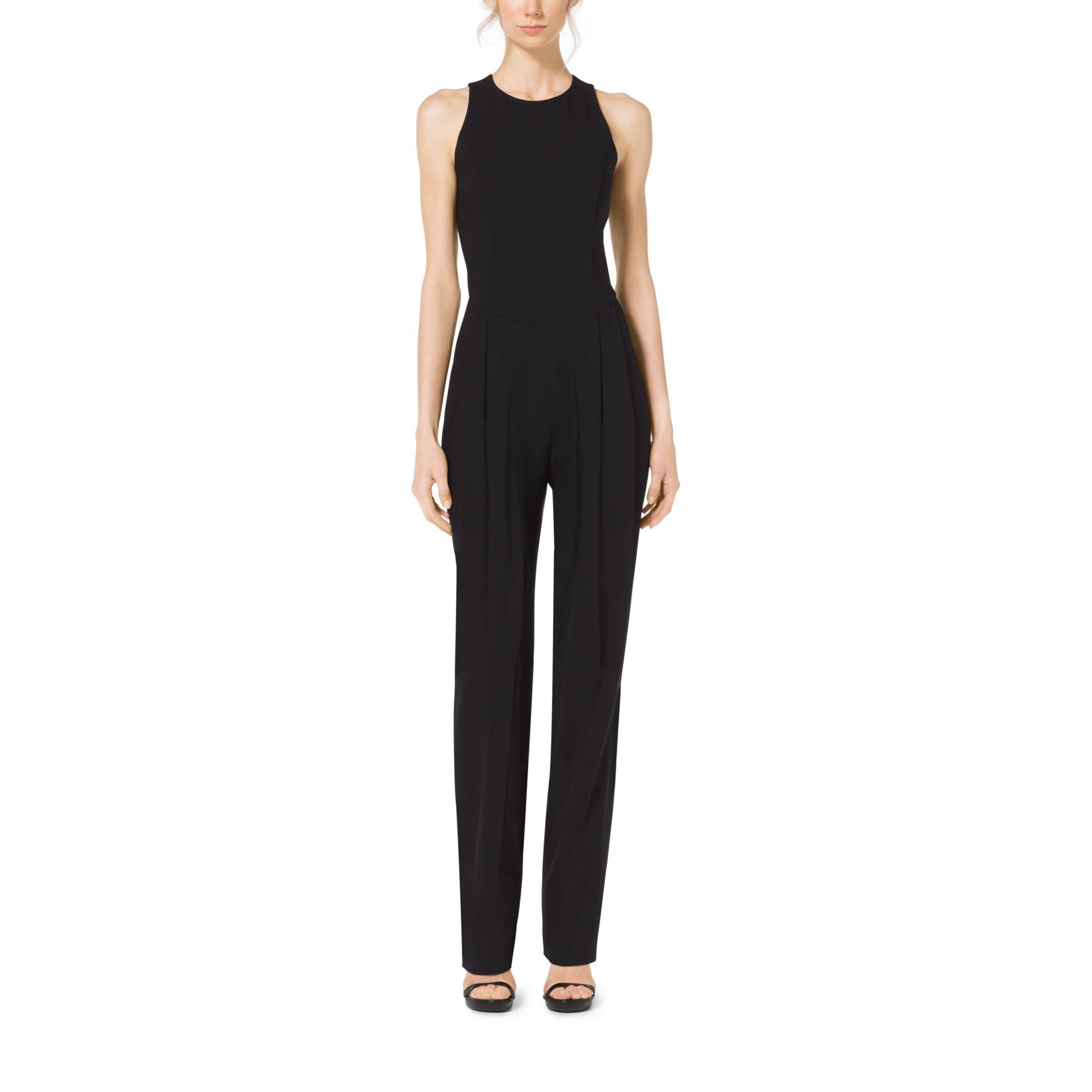 michael kors pebble crepe jumpsuit in black lyst. Black Bedroom Furniture Sets. Home Design Ideas