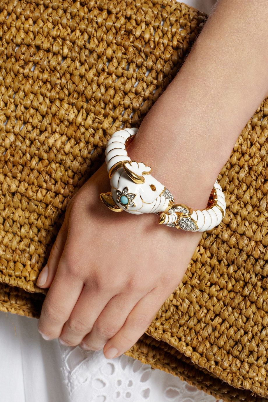 Lyst Kenneth Jay Lane Enameled Gold Plated Crystal And Resin Elephant Bracelet In Metallic