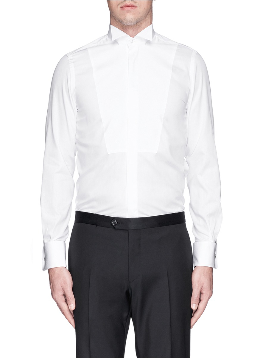 Lyst lardini wing tip collar bib stripe tuxedo shirt in for Tuxedo shirt wing tip