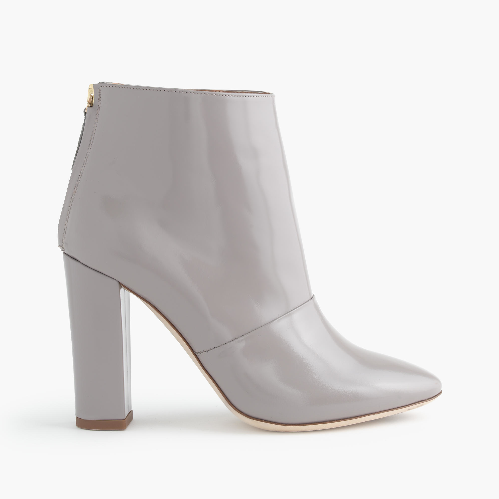 j crew adele glossy leather ankle boots in gray lyst