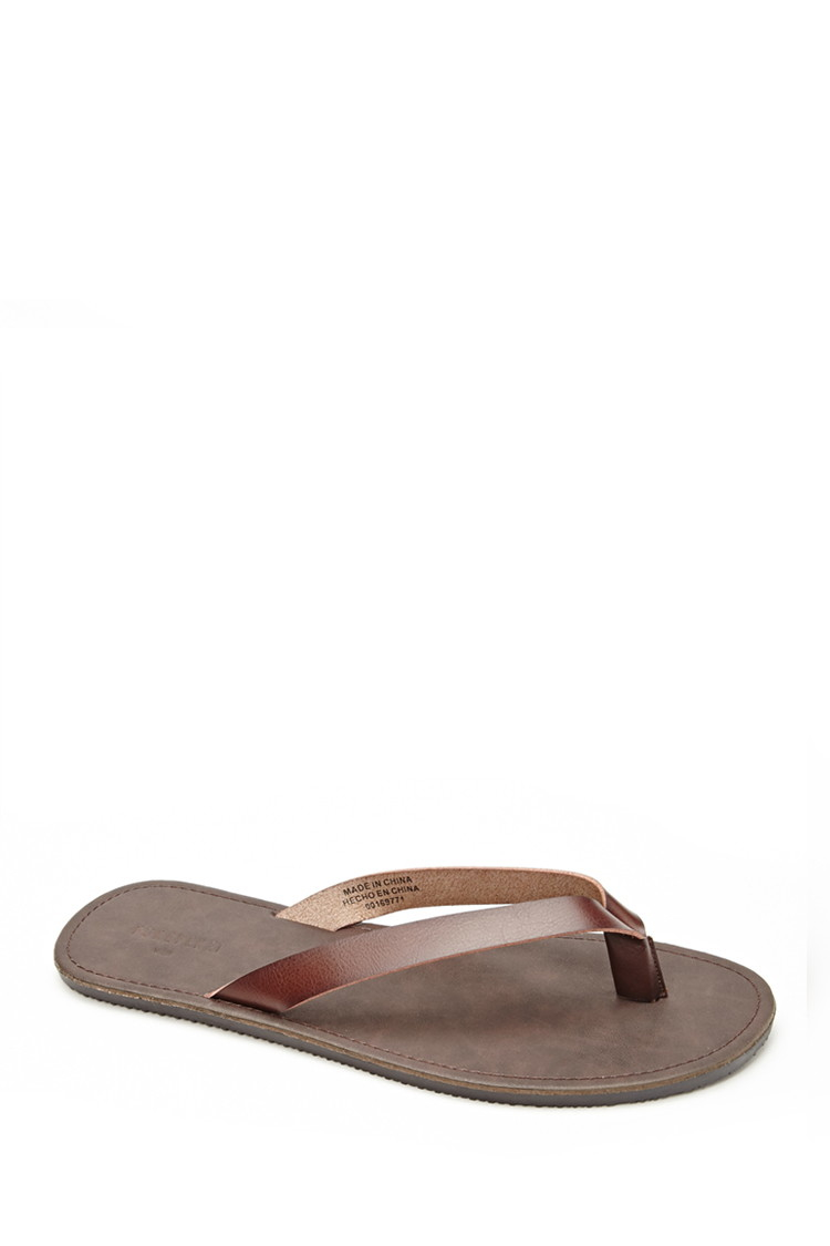 Lyst Forever 21 Mens Faux Leather Flip Flops In Brown