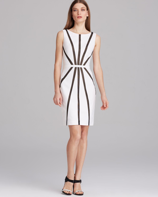 Lyst - Vera Wang Dress Sleeveless Contrast Piping Sheath in White